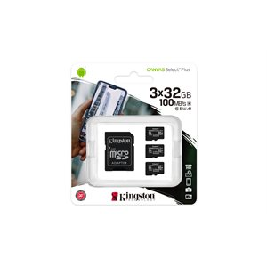 Kingston 32GB micSDHC Canvas Select Plus 100R A1 C10 3 Pack + 1 ADP (Canada)