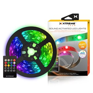 XTREME 6.6FT Sound Activated LED Lights with Remote Control