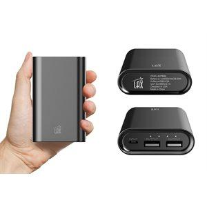 LAX 8000mAh Dual USB Power Bank-Black - ENG ONLY