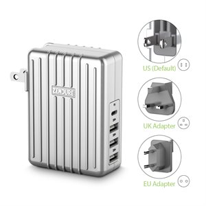 Zendure A-Series 4-Port 45W Wall Charger with PD & US, UK, EU Plug Silver ENG Only PKG