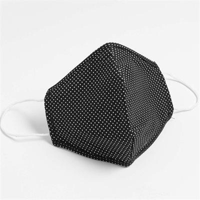 Masques lavables et réutilisables en tissu HORST (Coton) Pois-Noir (Paquet de 5)