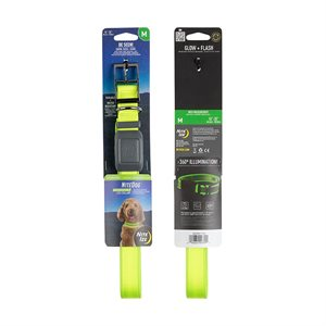 NiteIze NiteDog Rechargeable LED Collar - M - Lime/Green LED