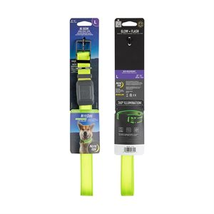 NiteIze NiteDog Rechargeable LED Collar - L - Lime/Green LED