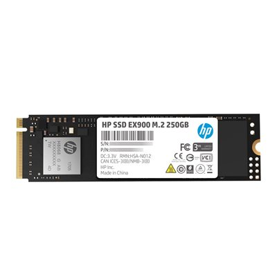HP SSD EX900 M.2 250GB SR:2100MB/s SW:1300MB/s War-3 Years Internal NVMe PCIe M.2 2 END: 31 Jul 2021