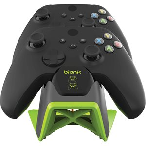 bionik POWER STAND FOR XBOX SERIESX Dual controller charging tower w/power adapter Black