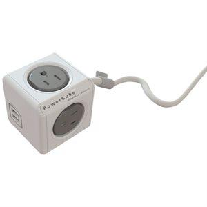 Extension POWERCUBE EXTENTED USB - 4 prises électriques et 2 ports USB (total de 3.1 amp) avec protection contre les surtentions - Gris - Câble de 1.5m/5pi  - Normalisé CETL
