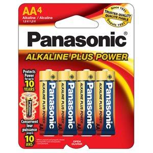 Paquet de piles AA X4 Alkaline Plus de Panasonic