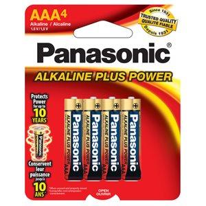 Paquet de piles AAA X4 Alkaline Plus de Panasonic
