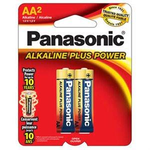 Paquet de piles AA X2 Alkaline Plus de Panasonic