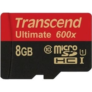 MicroSDHC Classe 10 UHS-I 600x (Ultimate) de 8Go de Transcend